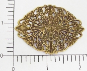 (Package Of 12) Tapered Oval Floral Filigree (Brass Ox)
