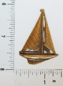 "(Package Of 12) 2"" Large Sailboat N/R (Brass Ox)"