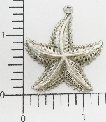 "(Package Of 12) 1-1/2"" Starfish Pendant/Charm (Matte Silver"