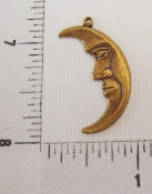 "(Package Of 12) 1-1/4"" Moon w/Face Charm (Brass Ox)"