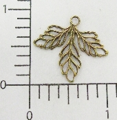 (Package Of 12) Triple Filigree Leaves Charm (Brass Ox)