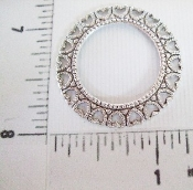 (Package Of 12) Round Open Filigree W/ Hearts (Matte Silver