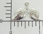 (Package Of 12) Double Leaf Charm (Matte Silver Ox)