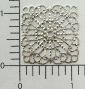 "(Package Of 12) 1-1/4"" Square Lacey Filigree (Matte Silver O"