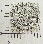 "(Package Of 12) 1-1/2"" Circles/Square Filigree (Matte Silver"