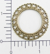 (Package Of 12) Round Open Filigree W/ Hearts (Brass Ox)