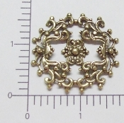 (Package Of 12) Round Dapped Floral Filigree (Brass Ox)