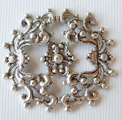 (Package Of 12) Round Dapped Floral Filigree (Matte Silver O