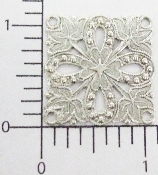 (Package Of 12) 4 Loops Square Filigree (Matte Silver Ox)