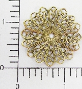 "(Package Of 12) 1-3/8"" Pleated Round Filigree (Brass Ox)"