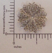 "(Package Of 12) 1-3/8"" Pleated Round Filigree (Matte Silver"