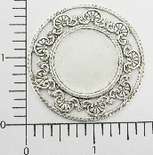 "(Package Of 12) Round w/Filigree Edge 1-3/4"" (Matte Silver O"