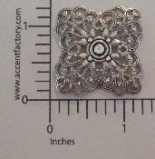 (Package Of 12) Dimensional Square Filigree (Matte Silver Ox