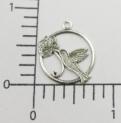 (Pakage of 12) Hummingbird in Round Charm (Matte Silver Ox)