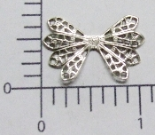 (Package of 12) Dapped Wing Shape Filigree (Matte Silver Ox)