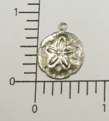 "(Package of 12) 7/8"" Sand Dollar Charm (Matte Silver Ox)"
