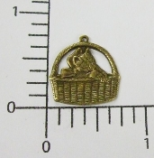 (Package of 12) Sm. Cat in Basket Charm (Brass Ox)