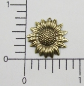 (Package of 12) Sunflower Charm w/hole (Brass Ox)