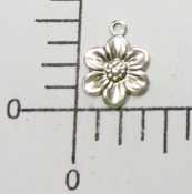 (Package of 12) Small Flower Charm (Matte Silver Ox)