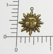 (Package of 12) Small Sun Charm (Brass Ox)