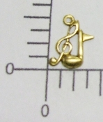 (Package of 12) Tiny Clef & Music Note Charm (Brass Ox)