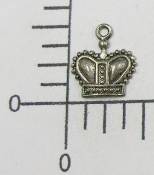 (Package of 12) Small Crown Charm (Matte Silver)