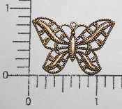 (Package Of 12) Lg. Filigree Butterfly Charm (Brass Ox)
