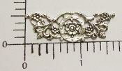 "(Package Of 12) 1-5/8"" x 1/2"" Floral Filigree (Matte Silver Ox)"
