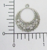 (Package of 12) Round Filigree Dangle (Matte Silver Ox)