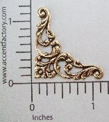 "(Package Of 12) 1-1/8"" Floral Filigree Corner (BRASS OX)"