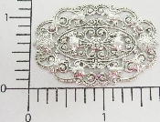 (Package Of 12) Large Ornate Oval Filigree (Matte Silver Ox)