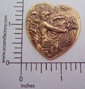(Package Of 12) Woman & Sea Horse in Heart (Brass Ox)