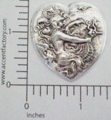 (Package Of 12) Woman & Sea Horse in Heart (Matte Silver Ox)