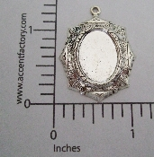(Package Of 12) 18x13 Ornate Oval Setting Charm (Matte Silve