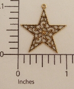 (Package of 12) Filigree Star Charm (Brass Ox)