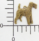 (Package Of 12) Sm. Airedale Dog Charm (Brass Ox)