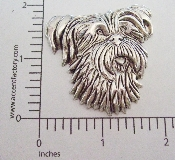 (Package Of 12) Large Shaggy Dog Head (Matte Silver Ox)