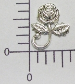(Package Of 12) Rose w/Curled Stem NR (Matte Silver Ox)