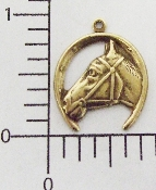 (Package Of 12) Horseshoe/Horse Head Charm (Brass Ox)