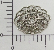 (Package of 12) Oval Filigree (Matte Silver Ox)
