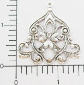 (Package Of 12) Victorian Filigree Dangle (Matte Silver Ox)