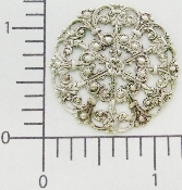 (Package Of 12) Round Victorian Filigree (Matte Silver Ox)