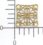 "(Package Of 12) 5/8"" Square Filigree (Connector) (Brass Ox)"