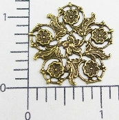 (Package Of 12) 5 Petal Floral Victorian Filigree (Brass Ox)