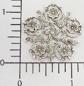 (Package Of 12) 5 Petal Floral Victorian Filigree (Matte Sil