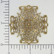 (Package Of 12) Large Cross Dapped Filigree (Brass Ox)