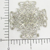 (Package Of 12) Large Cross Dapped Filigree (Matte Silver Ox
