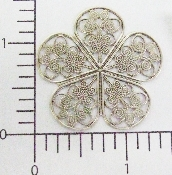 (Package Of 12) 5 Petal Filigree (Matte Silver Ox)