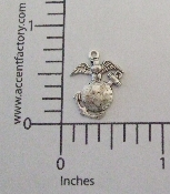 (Package Of 12) US Marine Charm (Matte Silver Ox)