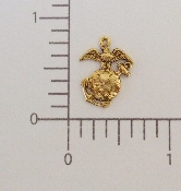 12 Pc US Marine Charm Antique Gold